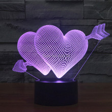 Colors Changing The Arrow of Love Acrylic 3D LED Night Light USB Decorative Table Lamp Baby Sleep Mood Cupids
