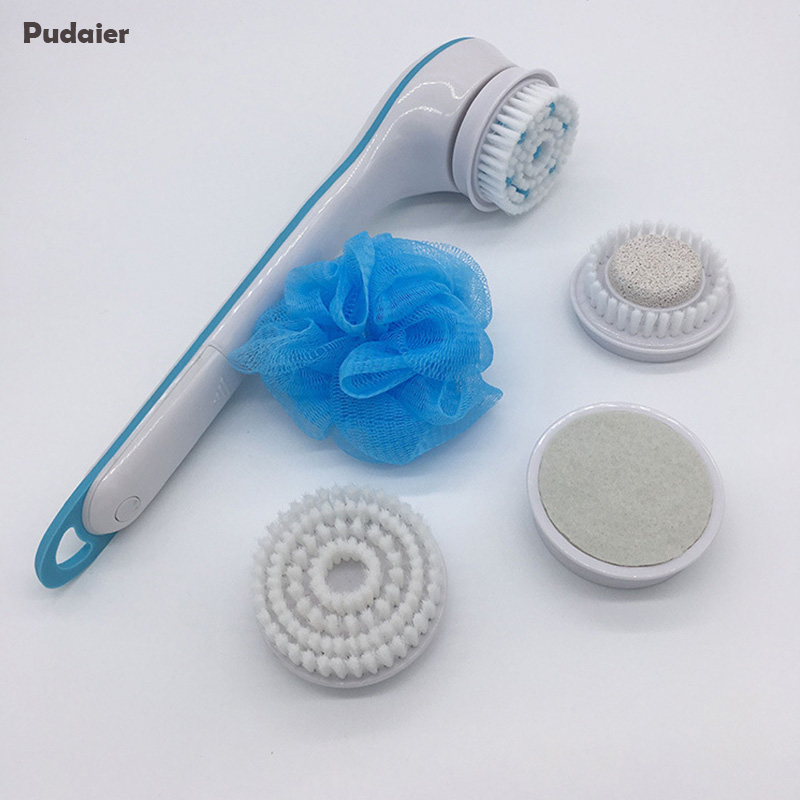 Pudaier Cleaning Bath Brush Spin Spa Massage Electric Shower Spin Scrubber System Long-handled Scrub & Bodys Treatment