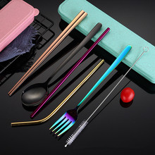 Stainless Steel Cutlery Set Spoon Fork Chopsticks Dinner Set Metal Straw with Cloth bag Portable Travel Dinneware Set Wholesale stainless steel travel easy dinner set fork spoon chopsticks