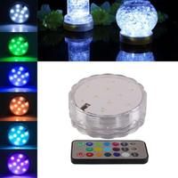 4 Pcs 10 LED Remote Controlled RGB Submersible Light Battery Operated Underwater Night Lamp Vase Bowl Outdoor Garden Party Decor