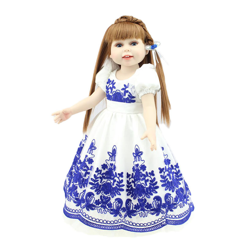 18inch Soft Vinyl Girl Doll Realistic Baby Princess Girl Doll in Long Blue Dress Handmade Silicone