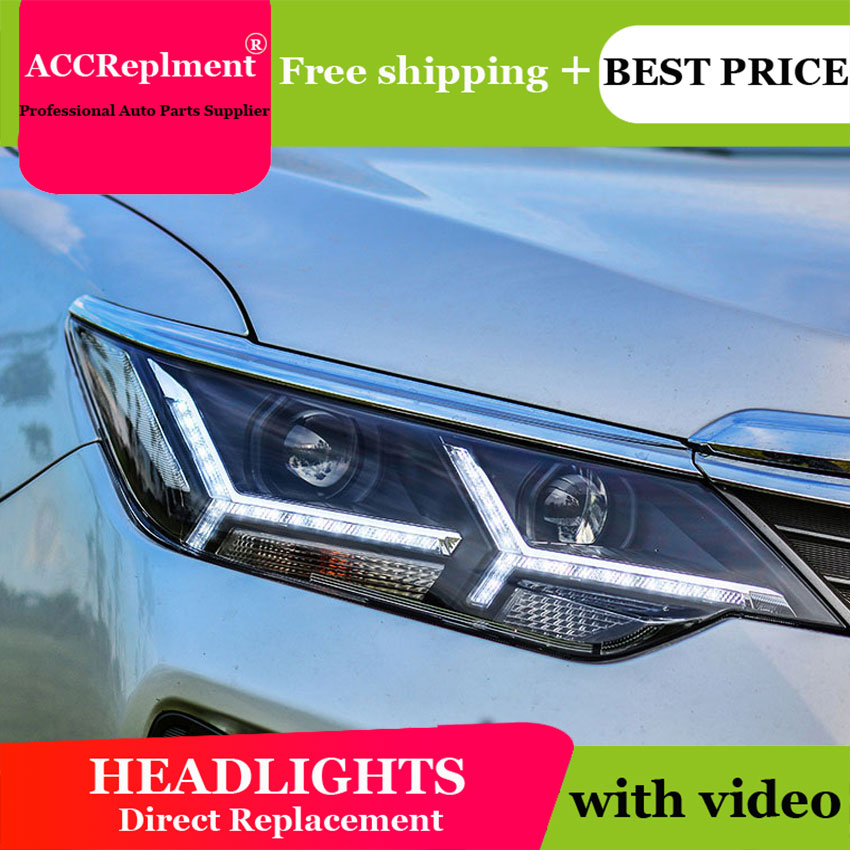 car styling For Toyota CAMRY headlights U angel eyes 2015 For Toyota CAMRY LED light bar