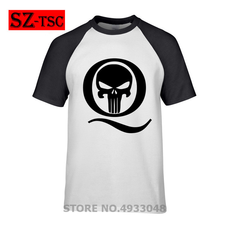 Skull Q Anon T shirt Freedom Movement Q Anon Skull T-Shirt Flame Q <font><b>Follow</b></font> The White Rabbit Tshirt summer cotton short sleeves image