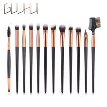GUJHUI 12 Pcs Professional Black Handle Gold Tube Eye Makeup Brush Set Eye Shadow Eyebrow Eyebrow Makeup Tool Pennelli Trucco#5%(China)
