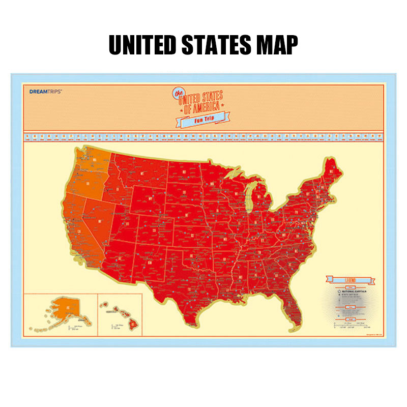 1pcs United States Travel Scratch Map Gold Foil Travel Map Scratch Off Foil Layer Coating World Map School Office Supplies