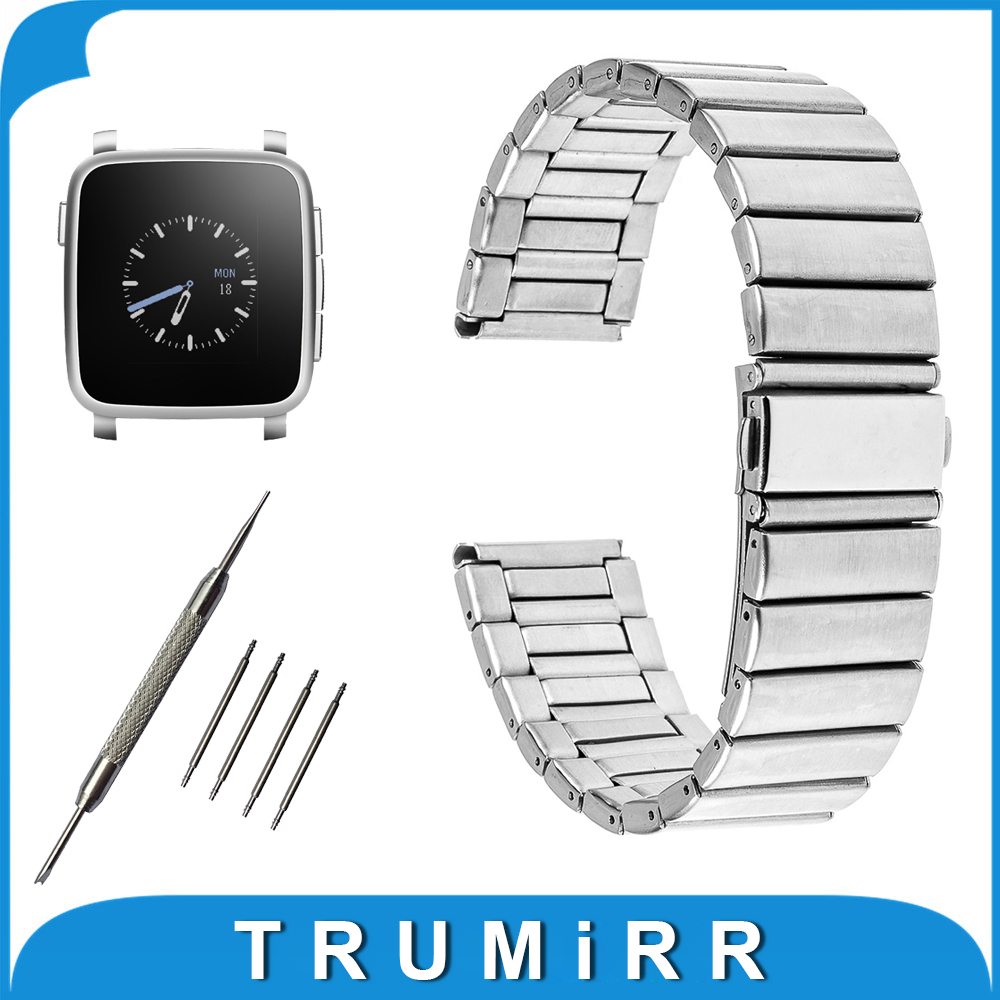 22mm Stainless Watch Band for Pebble Time / Steel Folding Buckle Strap Wrist Belt Bracelet Black Silver + Tool + Spring Bar stainless steel cuticle removal shovel tool silver