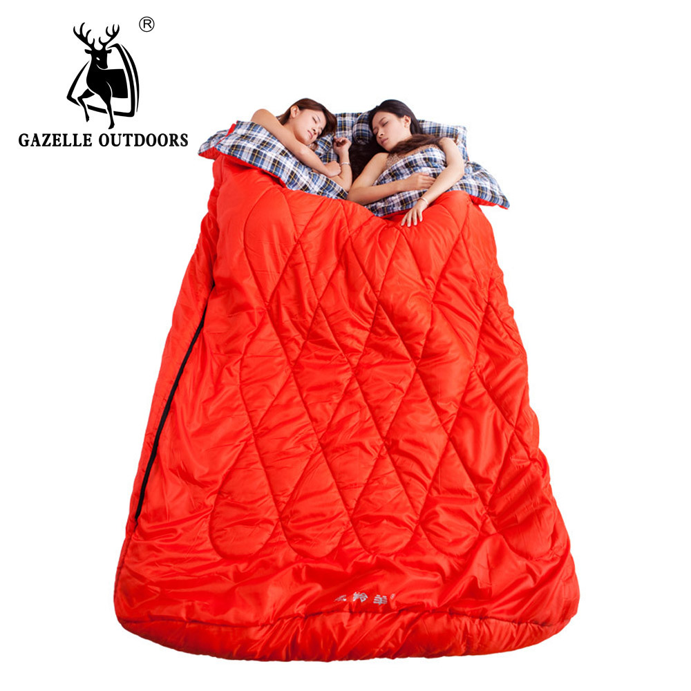 GAZELLE OUTDOORS sleeping bag Double envelope outdoor travel camping longer family large duet sleeping bag couples 2 person gazelle outdoors желтый