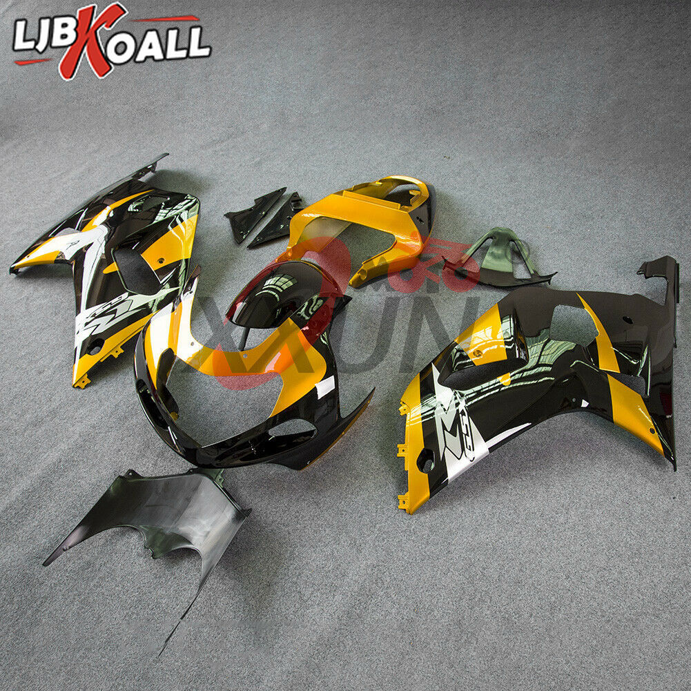 GSXR600 GSXR750 Motorcycle Complete Injection Mold Fairing Set Kit For <font><b>Suzuki</b></font> <font><b>GSXR</b></font> <font><b>600</b></font> 750 GSX-R 750 2001 <font><b>2002</b></font> 2003 Gold Black image