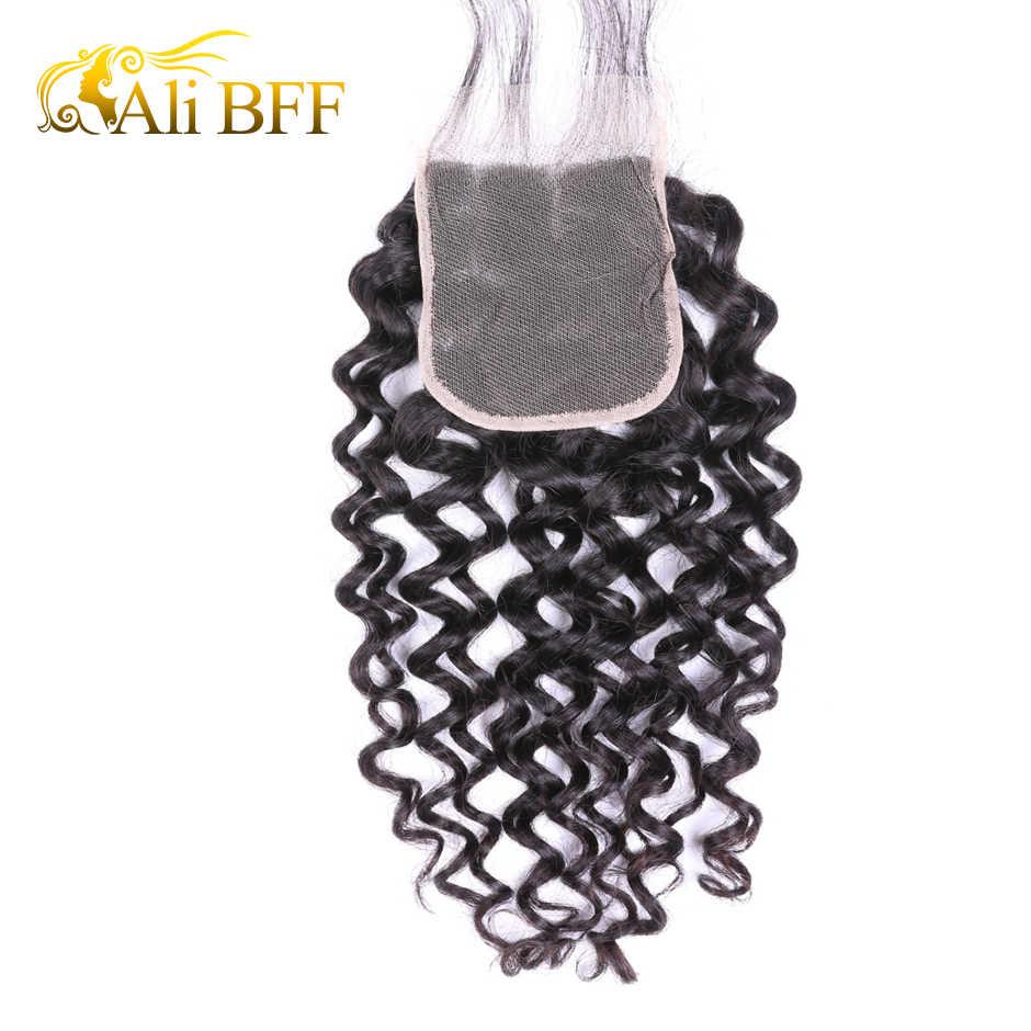 Али BFF волосы бразильские волосы переплетения пучок s с закрытием 3 пучка с закрытием шнурка Remy человеческие волосы глубокая волна пучок s с закрытием