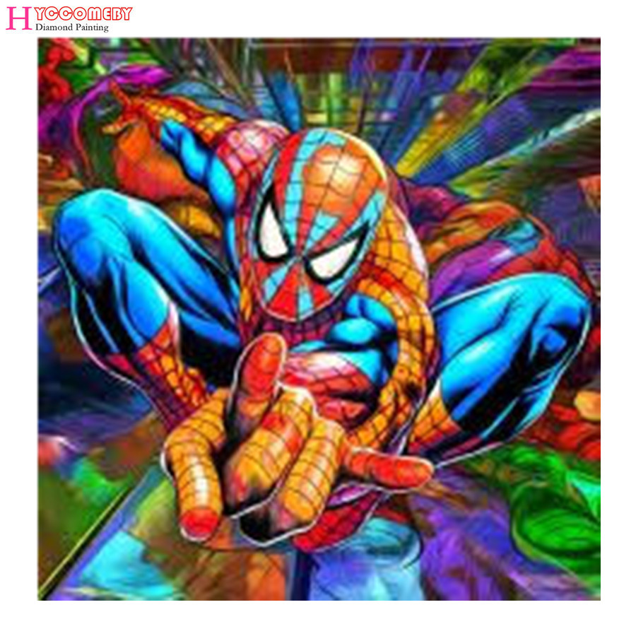 Spiderman Drill Resin Ribbon Mosaic 5D Diy Embroidery Diamond Painting Movie 3D Cross Stitch Kit sticker room decorations