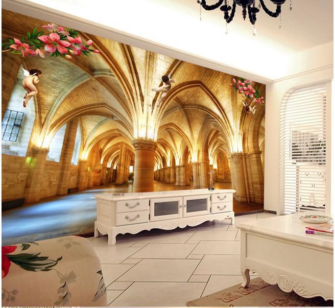 New large wallpaper custom wallpaper marble pillar 3d for Angel wall mural