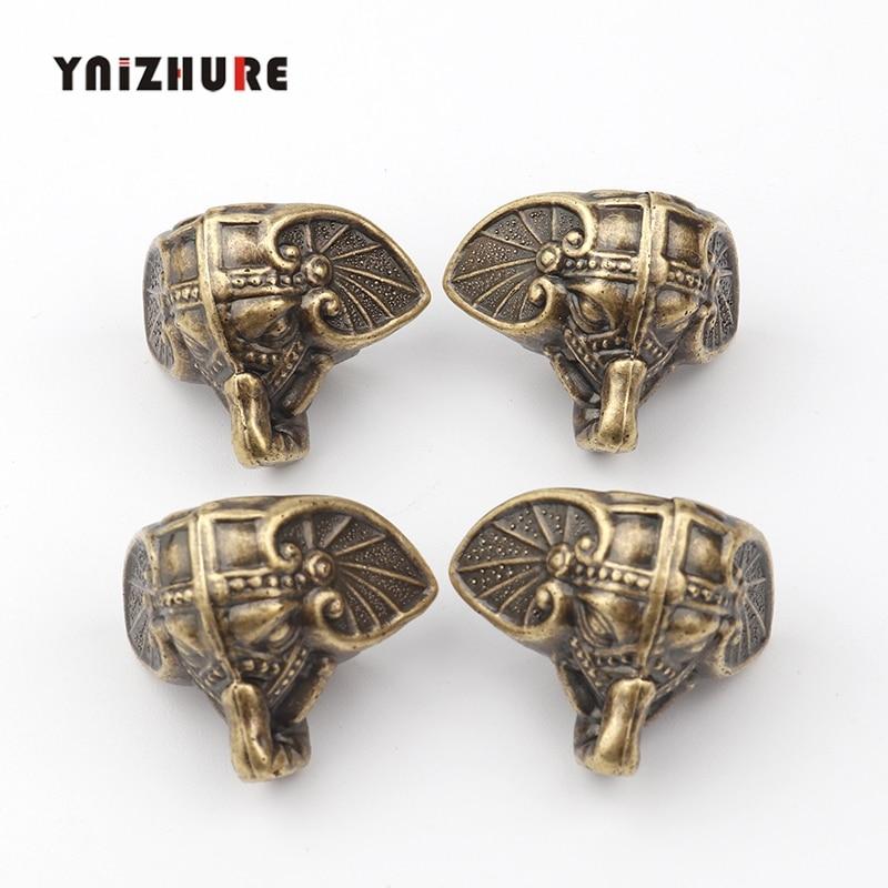 4PCS 28*23mm Antique Elephant Vintage Bronze Jewelry Chest Box Wooden Case Decorative Protection Feet Leg Plastic Material