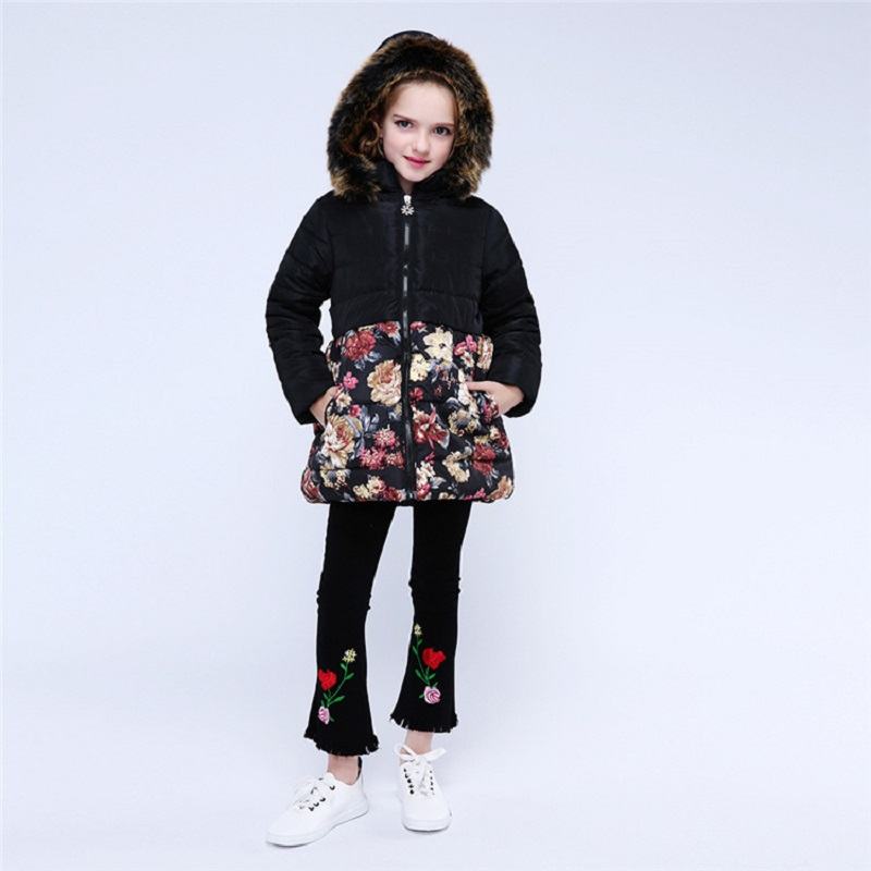New 2019 Fashion Children Winter Jacket Girl Winter Coat Kids Warm Thick Fur Collar Hooded long down Coats For Teenage 4Y 14Y in Jackets Coats from Mother Kids