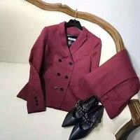 Модные блейзер feminino костюм комплект, Женская Офисная 2peice набор, элегантный бархатный блейзер женщин, блейзер укороченный Топ куртка и штаны