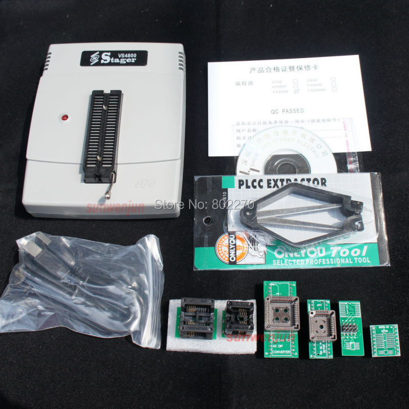 VS4800 Universal High Speed Programmer Bios GAL EPROM FLASH 51 AVR PIC MCU SPI with 48pin ZIF socket,support 15000+, +6 adapters usb tl866cs programmer eprom spi flash avr gal pic 9pcs adapters test clip 25 spi flash support in circuit programming adapter
