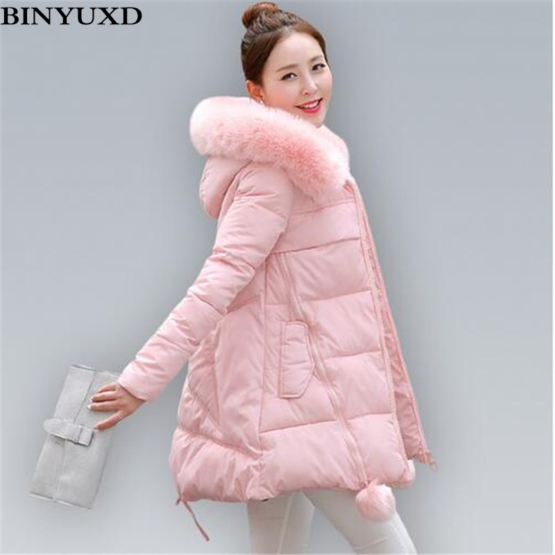 BINYUXD Women's Thick Warm Long Winter Jacket Women Parkas Faux Fur Collar Hooded Cotton Padded Winter Coat Female Manteau Femme women winter cotton padded jacket warm slim parkas long thick coat with fur ball hooded outercoat female overknee hoodies parkas