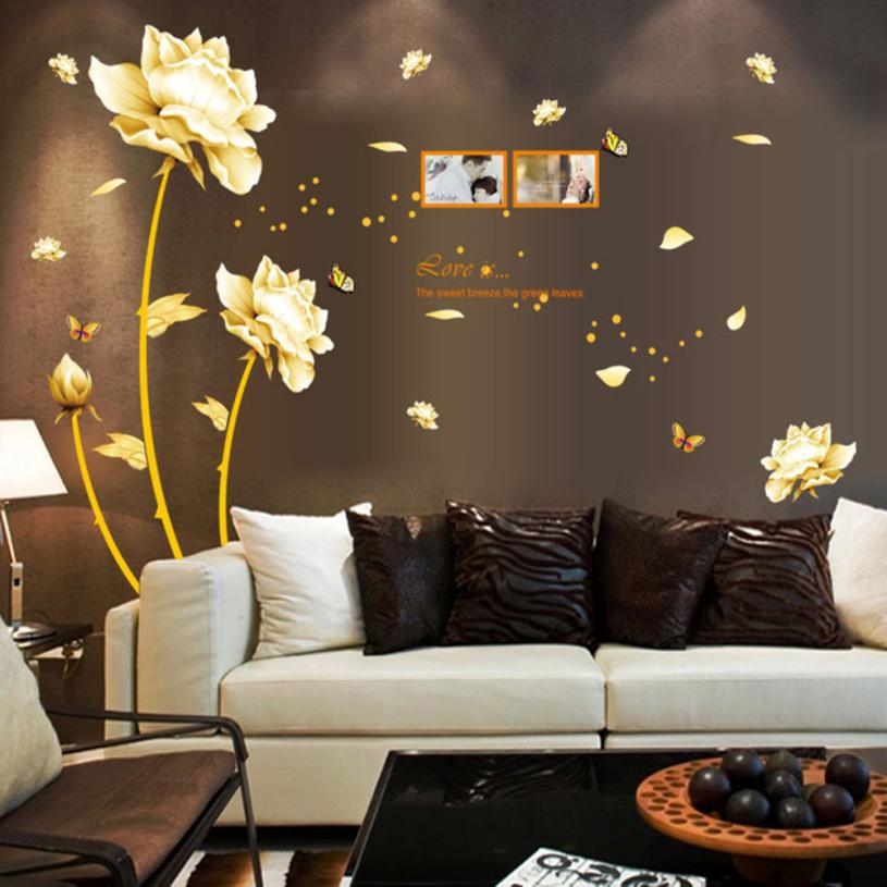 Wall Stickers 1 PC Gold Tulip Flower Wall Stickers ...