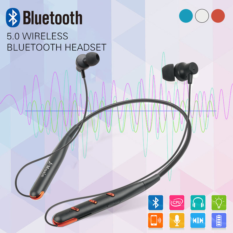 Sports Bluetooth Earphone Neck Bluetooth Headset 5.0 Bass Waterproof Headphone Built-in Mic Support TF Card