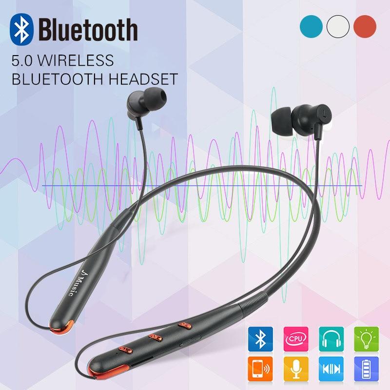 Sports Bluetooth Earphone Neck Bluetooth Headset 5 0 Bass Waterproof Headphone Built-in Mic Support TF Card