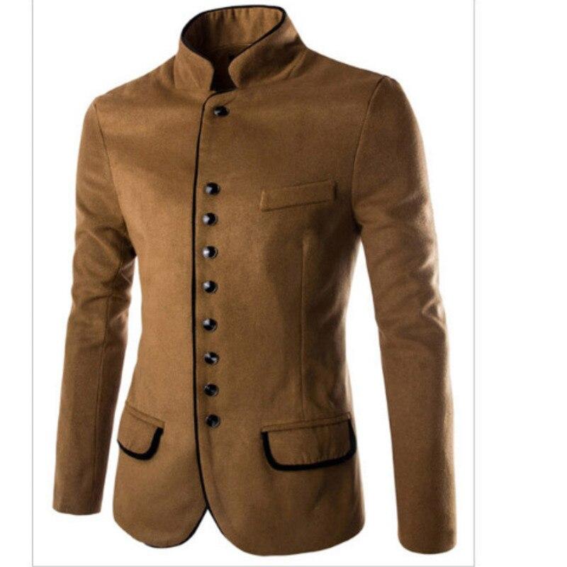 Stand Collar Coat Slim Fit Suit Button Jacket Overcoat Blazers  1