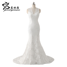 2017 Real Pics Vestidos De Noiva Lace Appliques V Neck Zipper back  Mermaid Wedding Dress Robe De Mariage Bridal Gowns