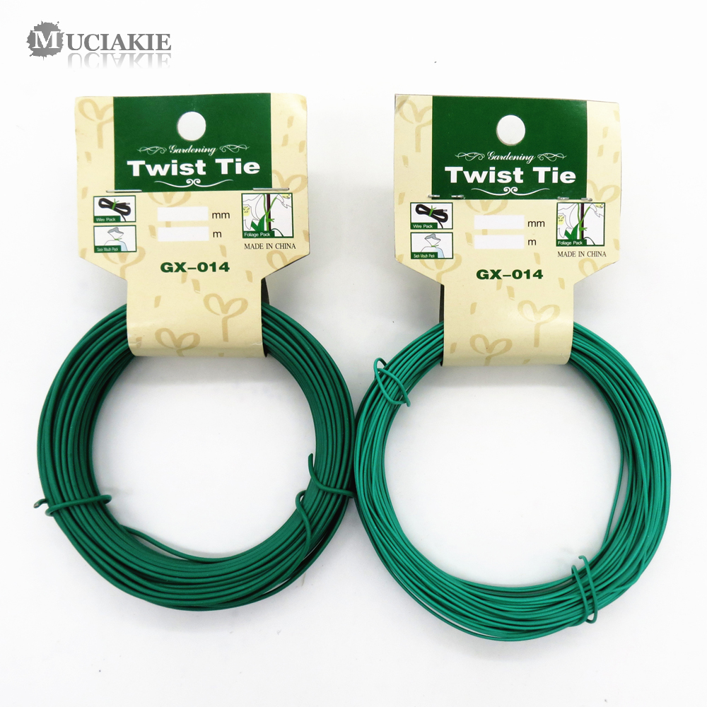 MUCIAKIE 12M/15M Garden Wire Heavy Duty Green Coated Plant Twist Tie Garden Training Wire Bonsai Outlet Wire For Holding Branch