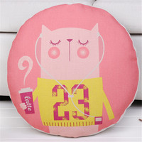 Diameter 45CM Cotton Linen Round Cushion Cover Cartoon Animal Throw Chair Bed Sofa Decor Pillow Cover
