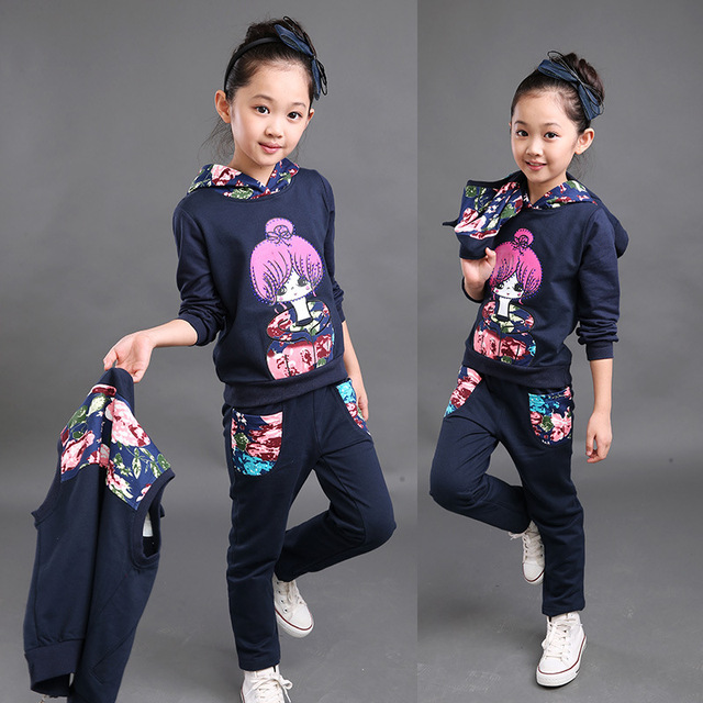 Conjuntos de Roupas meninas Outono Inverno Colete Colete Meninas Camisolas Casuais + Calça Esporte Terno Roupa Dos Miúdos Roupas de Menina Traje
