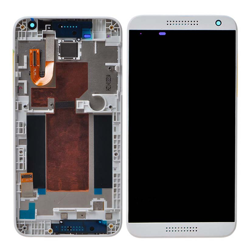 +Frame White LCD Display + Touch Screen Digitizer Assembly Replacement For HTC Desire 610 Free Shipping