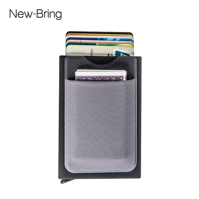 5637318b705a NewBring Automatic Pop up Credit Card Holder Sleeve with RFID Blocking  Front Pocket Slide Wallet for Men or Women