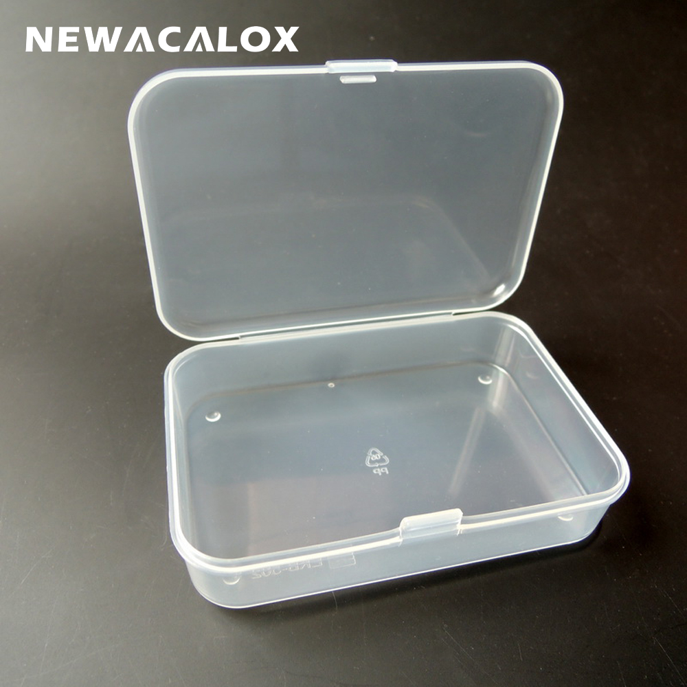 NEWACALOX 10pcs SMD SMT Screw Sewing Fish Hook Component Storage Tool Box PP Transparent Electronic Plastic Parts Box For Tool