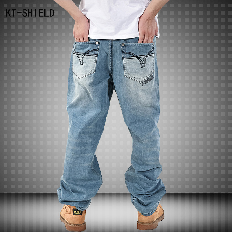 New Men Hip Hop biker jeans Mens Long Loose Fashion Skateboard Baggy Relaxed Denim Casual HIPHOP
