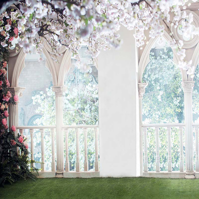 Bokeh Flowers Wedding: Floral Wedding Backdrop For Photography Arched Stone