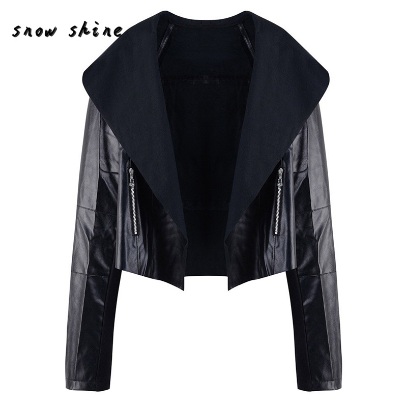 Woweile #5001 Women Punk Slim Biker Motorcycle Short Jacket Lapel Leather Coat Outwear For Women