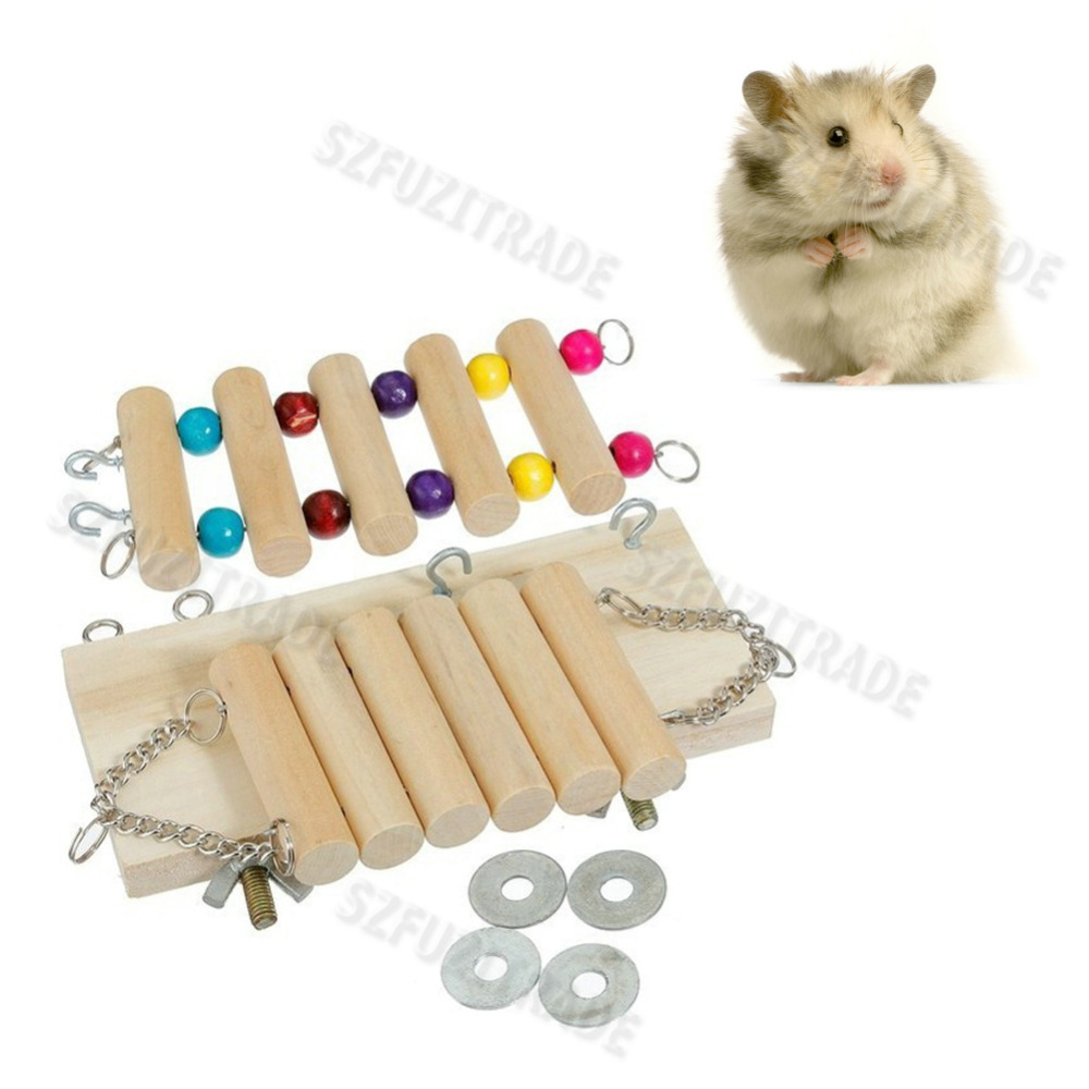 High Quality Flexible Wooden Toys Hanging Ladder Bridge Shelf Cage Accessories For Rat Mouse Hamster Parrot Free Ship -42