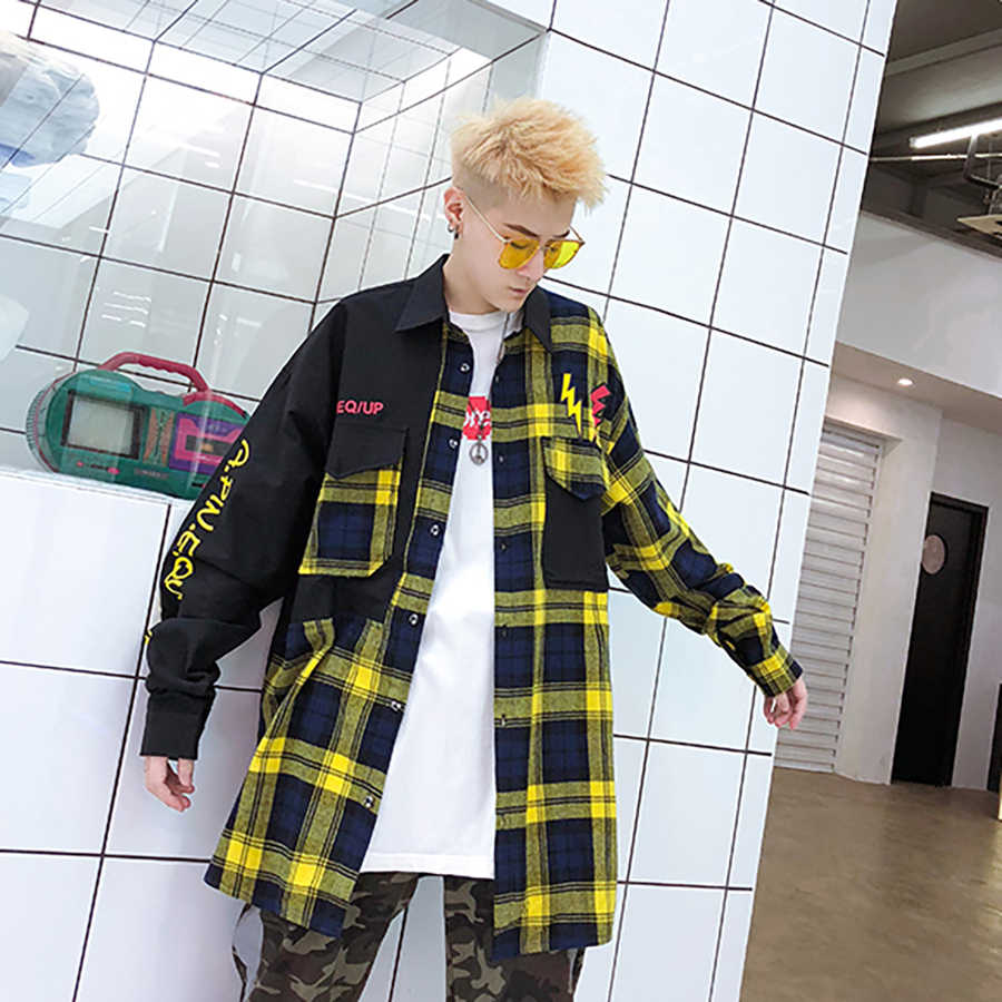 New Casual Plaid Shirts Oversized Harajuku Long Sleeve Shirt Men Women Flannel Burr Patchwork Shirts Fashion Shirt Men 2019 5