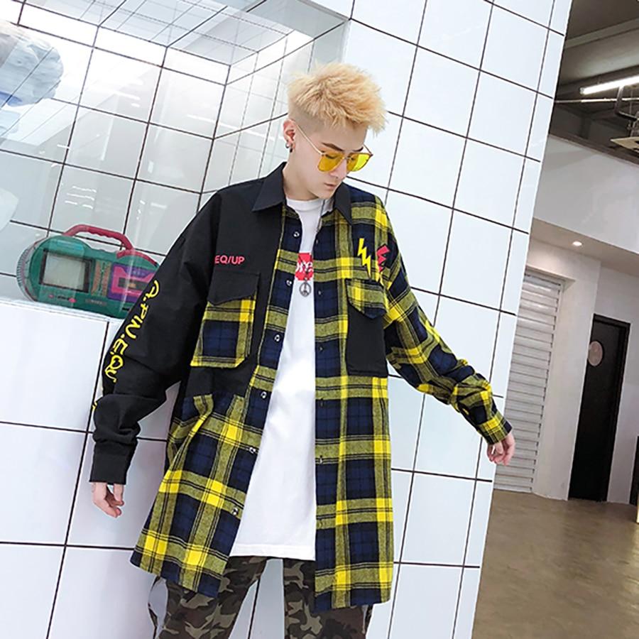 New Casual Plaid Shirts Oversized Harajuku Long Sleeve Shirt Men Women Flannel Burr Patchwork Shirts Fashion Shirt Men 2019 5