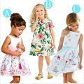 2015 hot girls dress children's clothing white strap dress Students wear fashion pleated dress silk Leisure dress Free Shipping