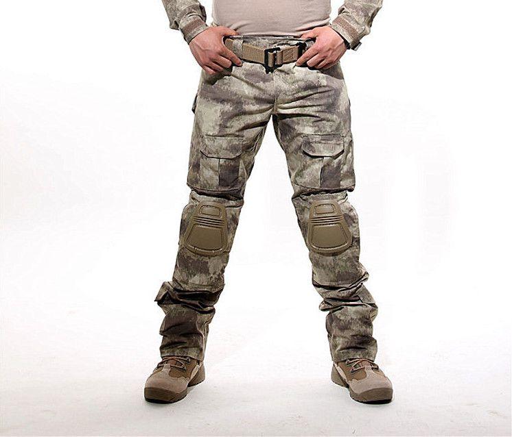 Livraison gratuite militaire tactique armée militaire uniforme pantalon Multicam Camouflage Combat Cargo pantalon avec genouillères 81005