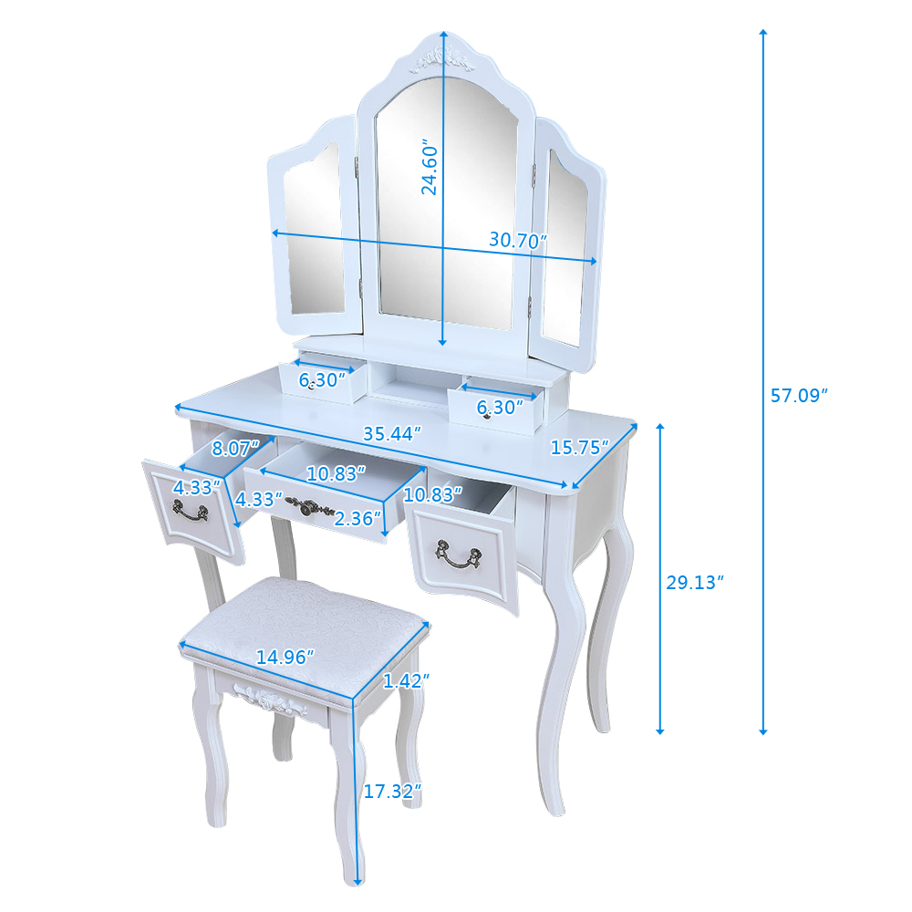 3 Drawers And Curved Solid Rubberwood Leg Home Furniture Langria Makeup Dressing Table Vanity And Stool Set With Adjustable Swivel Oval Mirror Bedroom Furniture