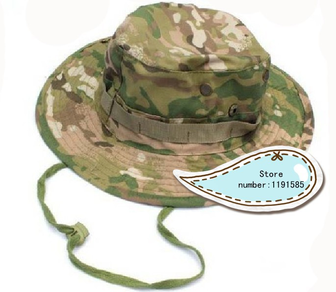 Military Army Round-brimmed Hat Sun Boonie Hat Cap for Fishing Hiking CP  Camo Multicam 4729f113f820