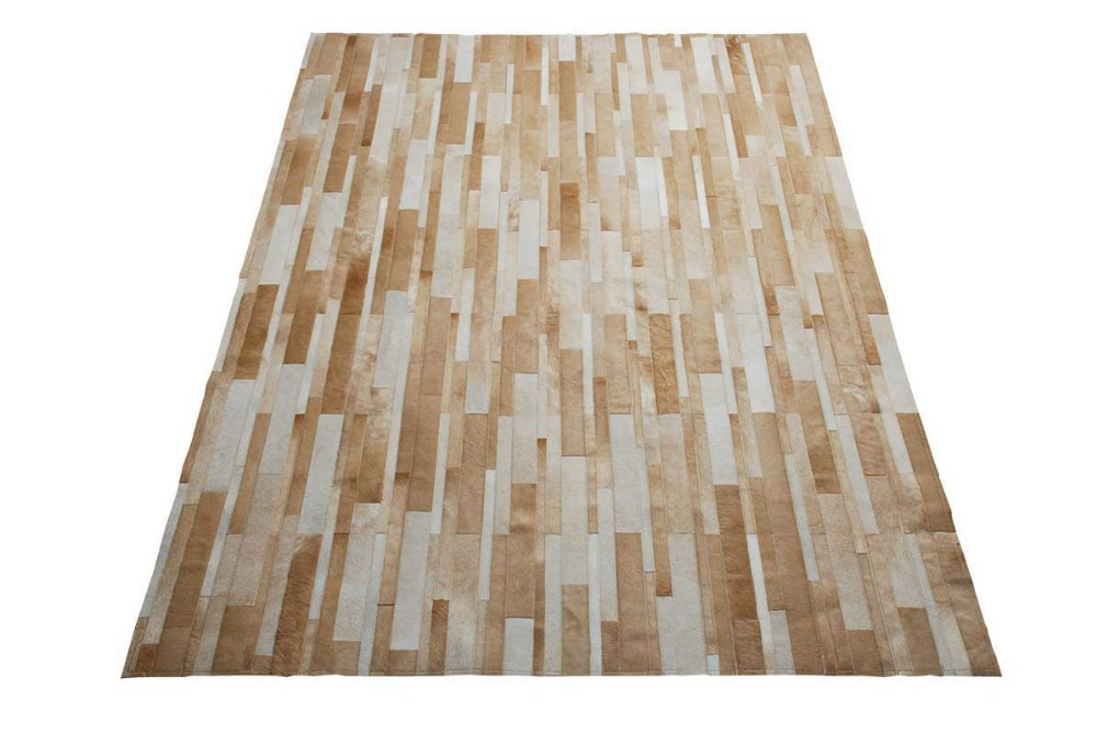 Home 217 Beige And White Patchwork Cowhide Rug Stripes Design No