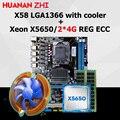 HUANAN ZHI korting X58 moederbord CPU RAM combo X58 LGA1366 moederbord CPU Intel Xeon X5650 met cooler RAM 8G (2*4G) REG ECC