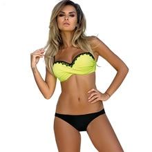 2018 New Arrival Bikini Yellow Black Lace Bordered Push Up Set Women Poland Europe Swimwear Female Swimsuit