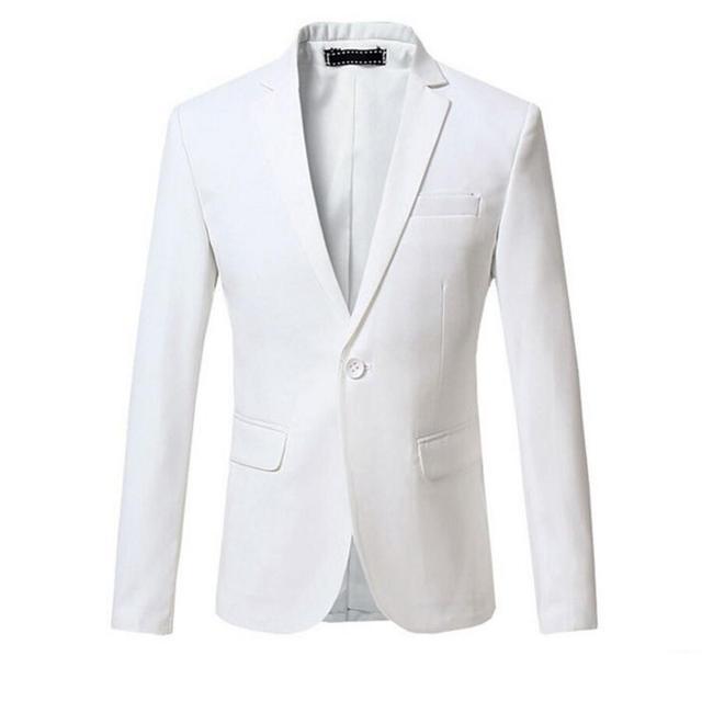 Новое Прибытие Весна Белый Вечернее Платье Блейзеры Мужчины Твердые Slim Fit V-образным Вырезом Мужская Blazer Jacket Повседневная Социальный Бизнес Пиджак