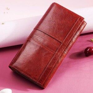 Image 3 - Rfid ארוך ארנק נשי עור מעצב ארנק יוקרה מזהה אשראי כרטיס בעל טלפון סלולרי מטבע כיס כסף תיק