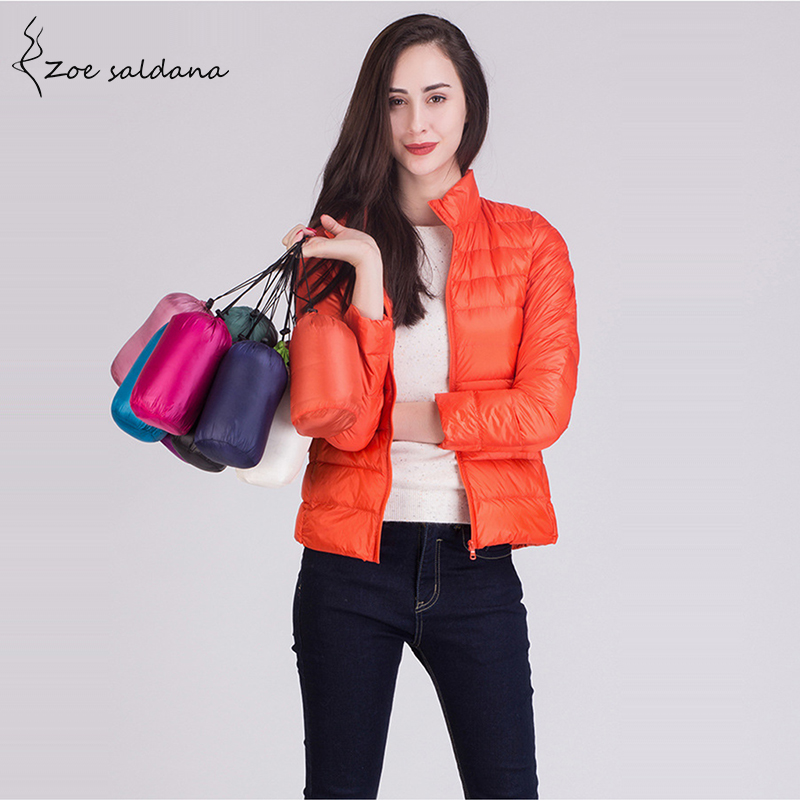 Zoe Saldana 2019 Ultra Light Down Coat Women Slim Parkas Candy Color Long Sleeve Thin Winter Jacket Female Stand Collar Coats