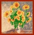 90 * 90cnm nueva pintura al óleo de girasol crisantemo patrón señoras grandes bufandas cuadradas de la bufanda