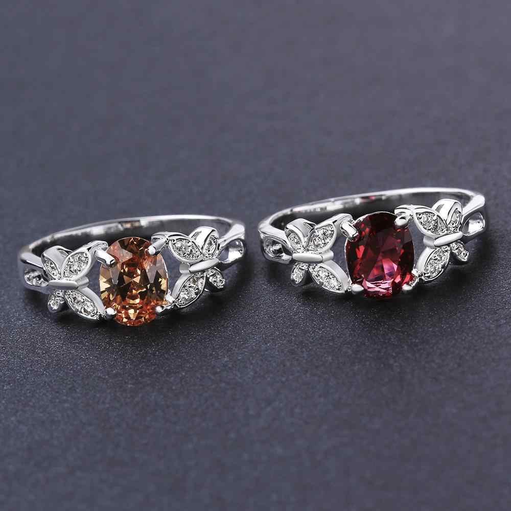 คู่แชมเปญผีเสื้อ Zircon แหวน 925 เงินสเตอร์ลิงแหวนผู้หญิงเครื่องประดับ Anel Anillos Aneis Bague ของขวัญ A251