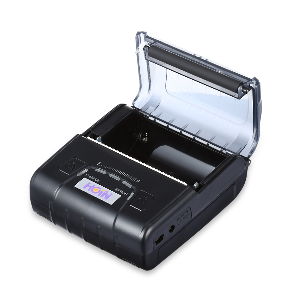 HOIN HOP-E300 Mini Thermal Printer Receipt Machine With 1500mAh 7.4V Rechargeable Battery USB/ Bluetooth Thermal Receipt Printer lcod t58zu pos58zu thermal receipt printer bill printing machine black